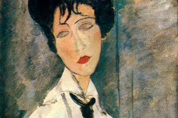 Amedeo Modigliani. Portrait of a woman in a black tie