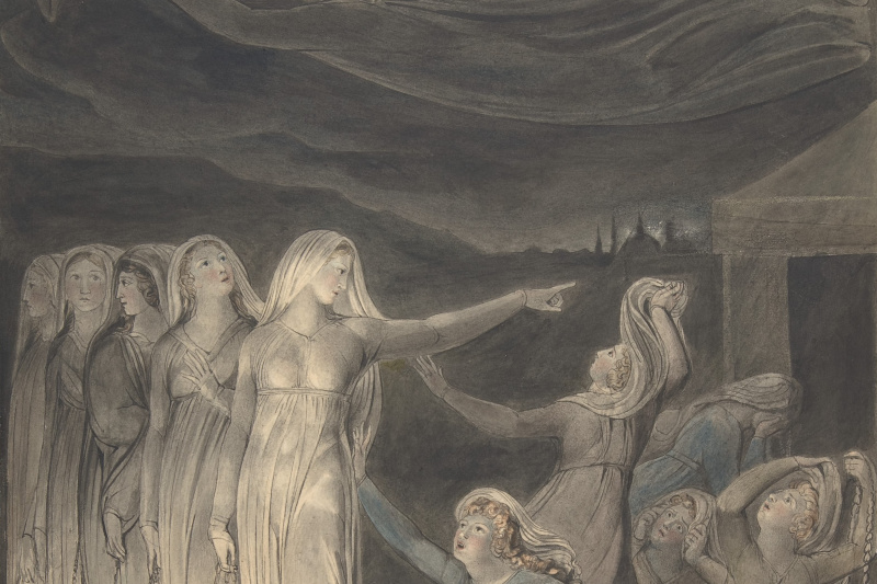 William Blake. Illustrations of the Bible. The parable of the wise and foolish virgins