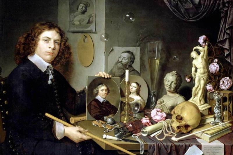David Bailey. Self-portrait with Vanitas symbols