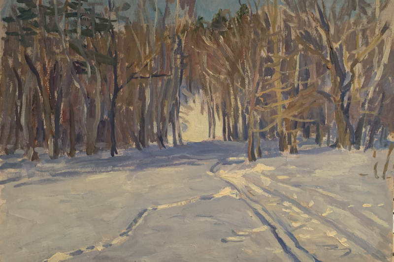 Oleg Alekseevich Dmitriev. Ski run in the forest