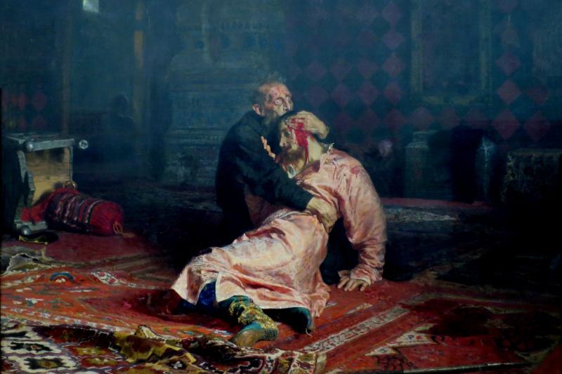 Ilya Efimovich Repin. Ivan the terrible and his son Ivan on 16 November 1581