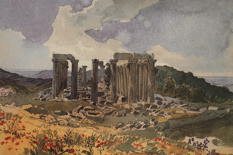 "Karl Pavlovich Bryullov. The temple of Epicurean Apollo in Figalia. From illustrations for ""Atlas to travel notes"" gr. V. P. Davydov, 1835, published in 1840"