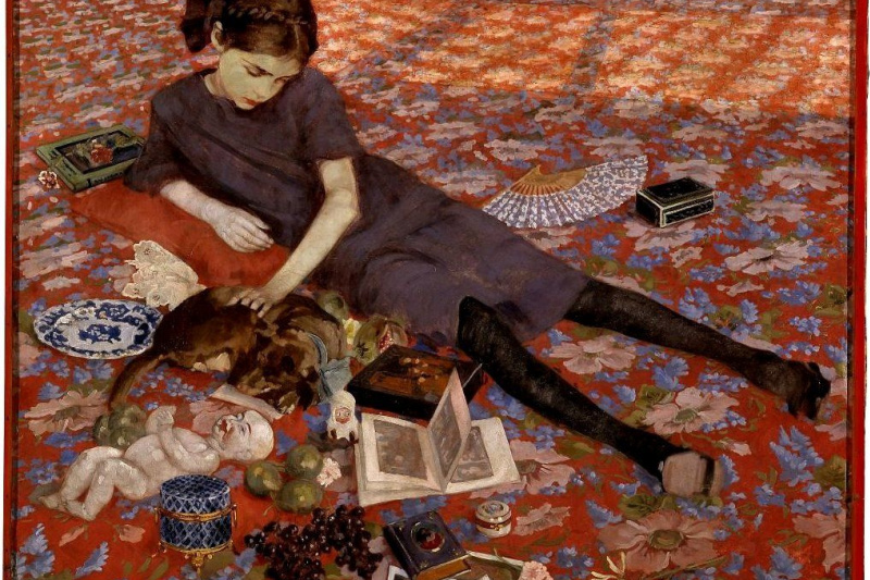 Felice Casorati. The girl on the red carpet