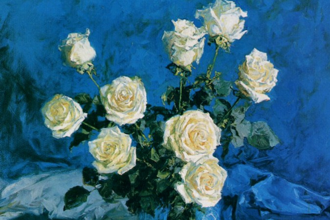 Eugene Monakhov. Blue velvet and white roses