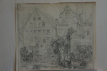 """Etude for etching """"Old Houses"""" (Ghent)."""