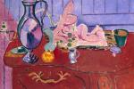 Анри Матисс. Розовая статуэтка и кувшин на красном комоде