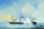 "Alexey Petrovich Bogolyubov. Battle of the steamer-frigate ""Vladimir"" with the Turkish-Egyptian military steamer ""Pervaz-Bahri"" on November 5, 1853"