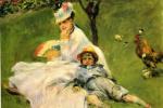 Пьер Огюст Ренуар. Камилла Моне и ее сын Жан в саду в Аржантее