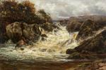 Жан Дельвиль. Пейзаж с горной рекой и мостом