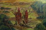 Владимир Иванович Осипов. Затонувший храм, 70-50, масло, 09.17г. © (жанр - религия, символьная композиция)