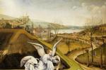 Робер Кампен. Рождение Христа. Фрагмент: Ангел на фоне пейзажа