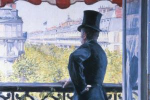 Человек на балконе, бульвар Осман