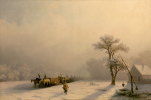 Ivan Aivazovsky. Winter train journey