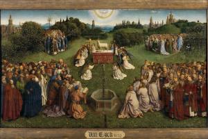 Гентский алтарь. Поклонение агнцу  (фрагмент)