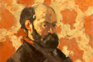 Paul Cezanne. Self-portrait on a pink background