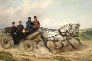 Николай Егорович Сверчков. Царь Александр III и кайзер Вильгельм в ландо. 1888