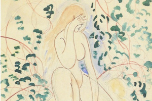 Леон Спиллиарт. Nude sitting on fallen leaves (Nu assis au feuillage), 1920