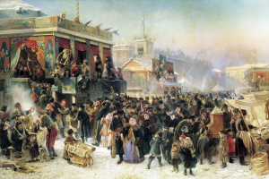 Konstantin Makovsky. Festivities during carnival at the Admiralty square in St. Petersburg