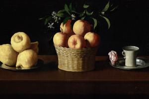 Франсиско де Сурбаран. Тарелка с лимонами, корзина с апельсинами и роза на блюдце