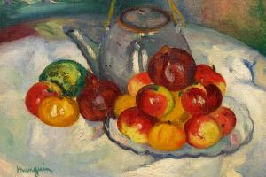Натюрморт с яблоками и чайником