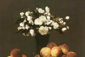 Анри Фантен-Латур. Белые розы и персики