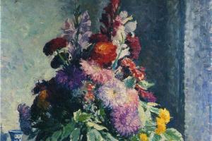 Анри Лебаск. Интерьер с букетом цветов