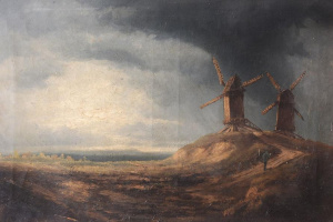 Storm Clouds Over Two Windmills