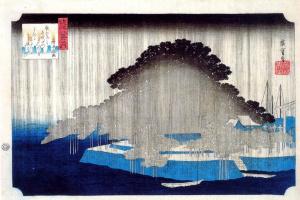 """Утагава Хиросигэ. Ночной дождь в Карасаки. Серия """"Восемь изображений окрестностей Эдо"""""""