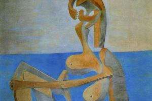 Пабло Пикассо. Купальщица, сидящая на берегу моря