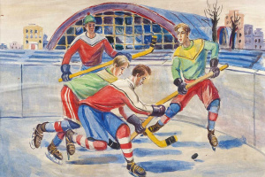 The hockey players. Sketch for a mosaic
