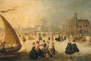 Frozen canal with skating and the boat on the ice