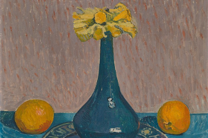 Still life with daffodils and oranges