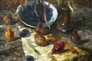 Натюрморт с красной грушей.1996