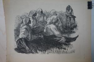 Петр Васильевич Лузгин. Колхозницы слушают радио