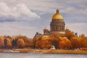 """Saveliy Kamsky. Landscape of Saint-Petersburg oil """"Autumn view of St. Isaac's Cathedral from the Neva river"""""""""""