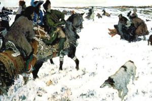 Валентин Александрович Серов. Царь Петр I присутствует на псовой охоте, устроенной боярами