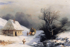Ukrainian oxcart in winter