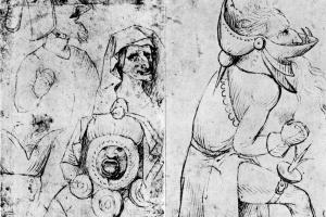 Гротескные лица (две стороны листа)