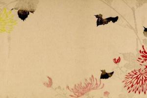 Утагава Хиросигэ. Желтые и красные хризантемы