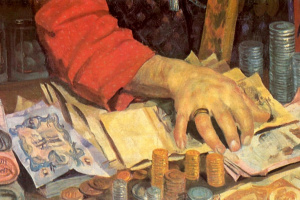 Борис Михайлович Кустодиев. Купец (Старик с деньгами). Фрагмент