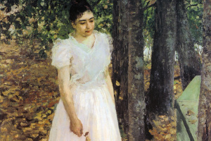 Константин Алексеевич Коровин. Осенью. Девушка в саду.