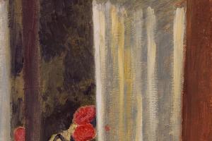 Куно Амье. Вид через занавешенное окно на сад с цветами