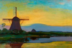 Pete Mondrian. Mill at night