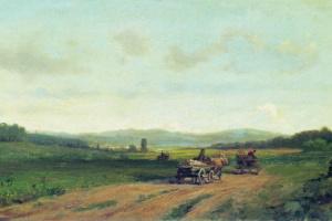 Холмистый пейзаж с дорогой