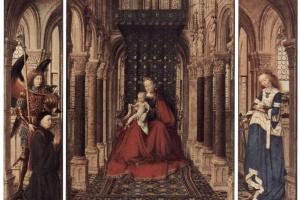Алтарь Девы Марии, Дрезденский триптих, оборотная сторона створки, сцена: Благовещение