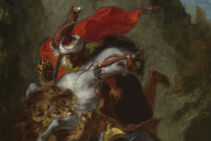 Эжен Делакруа. Арабский всадник сражается со львом