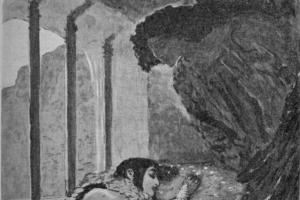 """Valentin Aleksandrovich Serov. Illustration to the poem by Mikhail Lermontov """"Demon"""""""