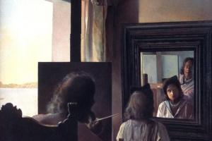 Сальвадор Дали. Дали, повернувшись спиною, пишет портрет Галы, повернувшейся спиною и увековеченной шестью виртуальными роговищами, временно отраженными в шести зеркалах