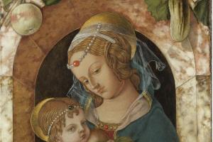 Карло Кривелли. Мадонна с Младенцем у мраморного парапета