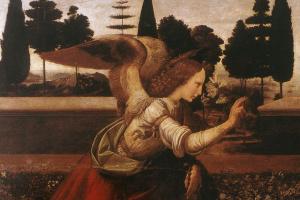 Леонардо да Винчи. Благовещение (фрагмент)